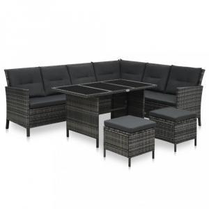 Záhradná sedacia súprava 4 ks sivá / čierna Dekorhome