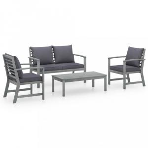 Záhradná sedacia súprava 4 ks sivá Dekorhome