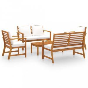 Záhradná sedacia súprava 5 ks akácie / látka Dekorhome Hnedá / krémová