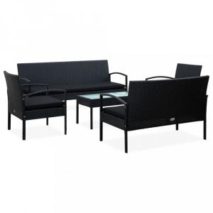 Záhradná sedacia súprava 5 ks polyratan / látka / sklo Dekorhome Čierna