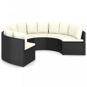 Záhradná sedacia súprava 6 ks čierna / biela Dekorhome