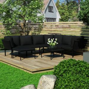Záhradná sedacia súprava 8 ks čierna Dekorhome