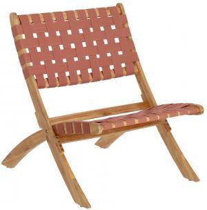 Záhradná skladacia stolička vo farbe terakota z akáciového dreva La Forma Chabeli