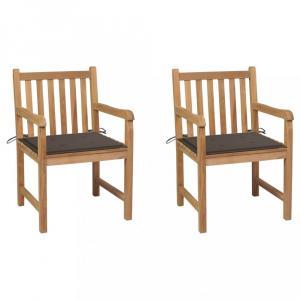 Záhradná stolička 2 ks s poduškou masívny teak Dekorhome Sivohnedá