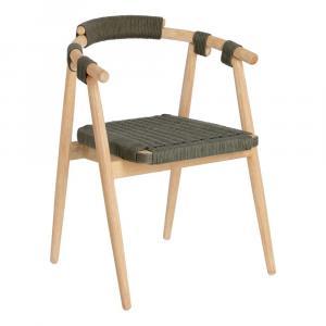 Záhradná stolička z eukalyptového dreva so zeleným výpletom La Forma Majela
