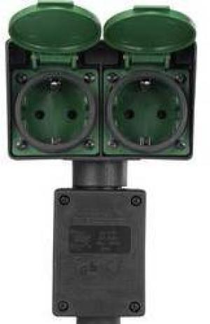 Záhradná zásuvka Renkforce 1168610, čierna, zelená, 2-násobný