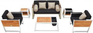Záhradná zostava HIGOLD - York Lounge White/Black Olefin