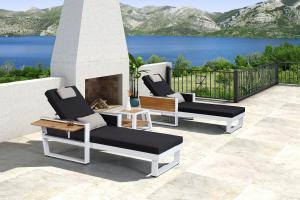 Záhradná zostava HIGOLD - York Sunlounge Set White/Black Olefin
