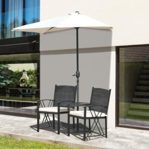 Záhradná zostava stoličiek + slnečník - čierne