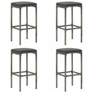 Záhradné barové stoličky 4 ks polyratan / látka Dekorhome Sivá