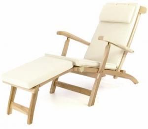 Záhradné drevené lehátko DIVERO Florentine + polstrovanie - béžové