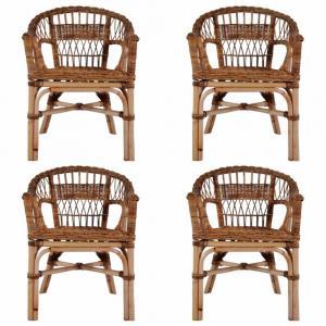 Záhradné stoličky 4 ks hnedý ratan Dekorhome