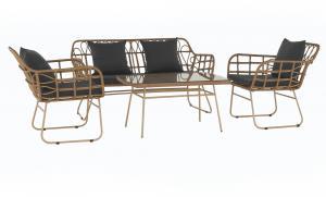 Záhradný 4-dielny ratanový set, prírodná/sivá, TAJRO