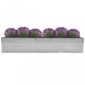Záhradný kvetináč pozinkovaná oceľ 400x80x45 cm Dekorhome Sivá