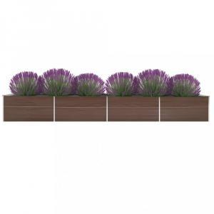 Záhradný kvetináč pozinkovaná oceľ 600x80x77 cm Dekorhome Hnedá