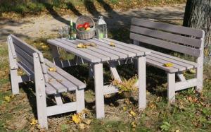 Záhradný masívny drevený stôl VIKING sivý - 150 cm
