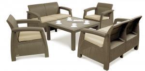 Záhradný nábytok KAREN CORTE 6 s voliteľnou výškou stola Farba: kapučínová