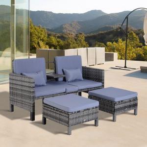 Záhradný polyratanový set so stolíkom a 2 stoličkami 66 | šedo-modrý
