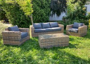Záhradný ratanový nábytok CANNES hnedo-sivý