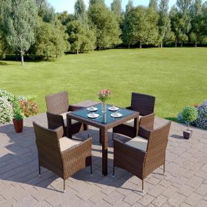 Záhradný ratanový set, hnedá/krémová, MORTON