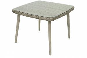 Záhradný ratanový stôl so sklom VICTORIA 100 x 100 cm