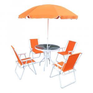 Záhradný set, oranžová/biela, ODELO