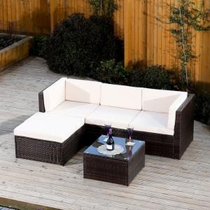 Záhradný set, roh s vankúšmi+konferenčný stôl, ratan, tmavohnedá-krémová, ALERA