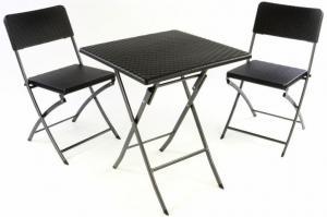 Záhradný set stôl a 2 stoličky ratanového vzhľadu, skladacie