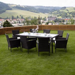 Záhradný stôl, vrúbkovaný ratan, hnedá, MENIBOR