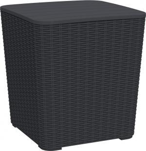 Záhradný úložný box/príručný stolík, čierna, UGUR