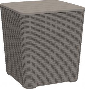 Záhradný úložný box/príručný stolík, sivohnedá, UGUR