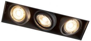 Zapustené bodové čierne, otočné a sklopné 3-svetlé žiarovky - Oneon 3