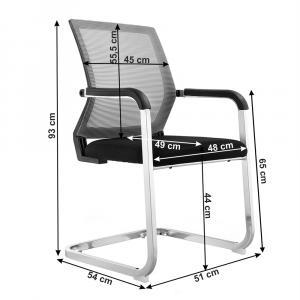 Zasadacia stolička, sivá/čierna, RIMALA