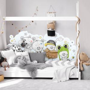 Zástena Mackovia - samolepka k detskej posteli