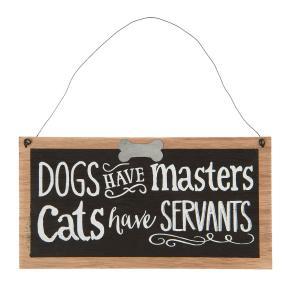 Závesná tabuľka Dogs and cats v drevenom rámčeku - 22 * 1 * 11 cm
