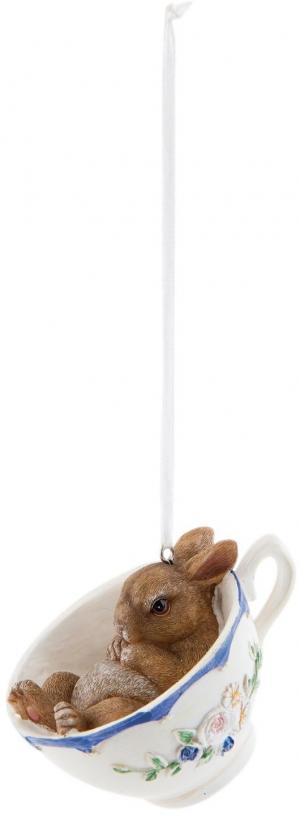 Závesná veľkonočný dekorácie zajačik v šálke - 9*7*7cm