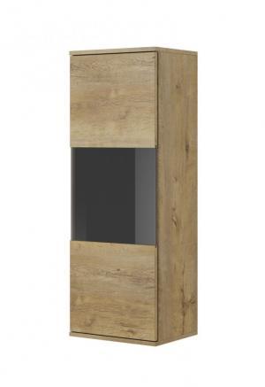 Závesná vitrína NEST W-1 dub lefkas / čierna Halmar