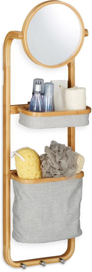 Závesný bambusový kúpeľňový regál so zrkadlom, RD1469