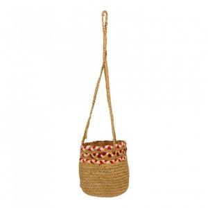 Závěsný jutový košík Sisi růžová - Ø 20 * 20 cm