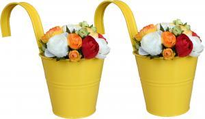 Závesný kvetináč na balkón žltý 2 ks