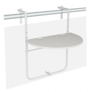 Závesný sklopný stolík ratanového vzhľadu - biely