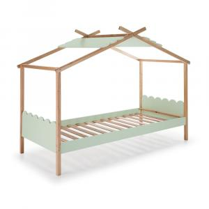 Zelená detská posteľ s konštrukciou z borovicového dreva Marckeric Nuvem, 90 x 190 cm