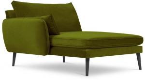Zelená zamatová leňoška s čiernymi nohami Kooko Home Lento, ľavý roh