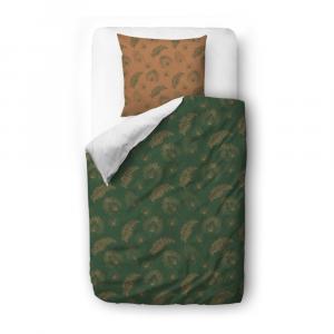 Zeleno-hnedé obliečky z bavlneného saténu Butter Kings Boho Leaves, 135 x 200 cm