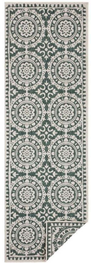 Zeleno-krémový vonkajší koberec Bougari Jardin, 80 x 250 cm
