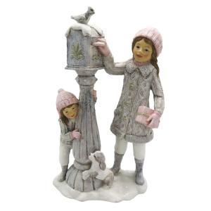 Zimné dekorácie dievčatá u poštovej schránky - 13 * 7 * 22 cm