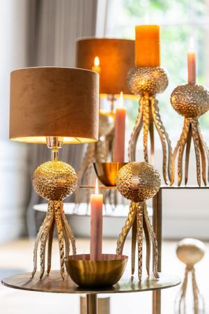 Zlatá kovová pätice Octopus - Ø 13 * 26 cm