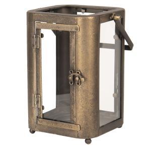 Zlato-hnedá retro lampáš s patinou - 19 * 15 * 23/33 cm