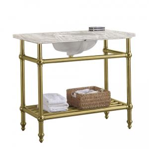 Zlatý retro koupelnový stolek