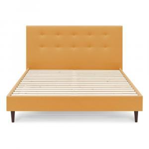 Žltá dvojlôžková posteľ Bobochic Paris Rory Dark, 180 x 200 cm